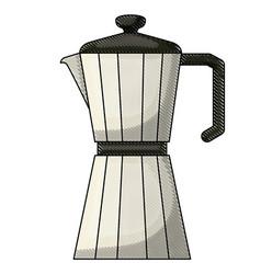 Metallic jar of coffee with handle colored crayon vector