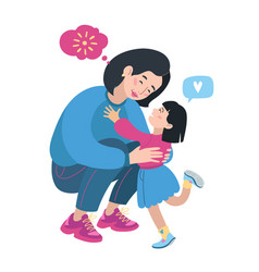 Mom and daughter family portrait asian chinese vector
