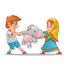 muslim girl and boy fighting over a doll vector image