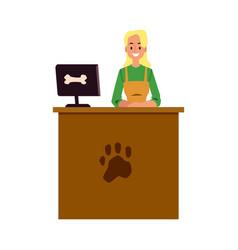 Pet shop cashier standing at cash register desk vector