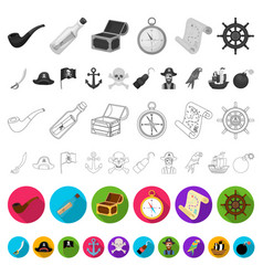 Pirate sea robber flat icons in set collection vector
