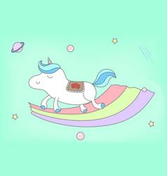 Proud male unicorn walking on rainbow vector
