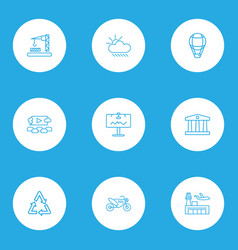 Public skyline icons line style set with recycle vector
