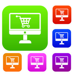 Purchase at online store through computer set vector