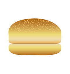 Realistic picture bread hamburger icon food vector