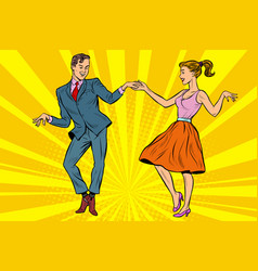 retro dancers couple man and woman vector image