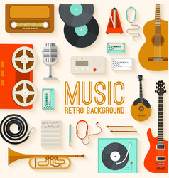 Retro equipment music set circle infographics vector