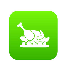 roasted turkey icon digital green vector image