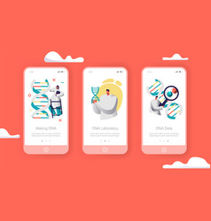 Scientist group genome pair in dna cell mobile app vector