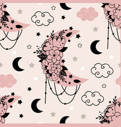 Seamless pattern with beautiful floral moon vector