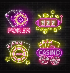 set casino neon illuminated signboards vector image