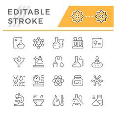 Set editable stroke line icons chemistry vector