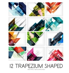 Set of trapezium geometric shape backgrounds vector