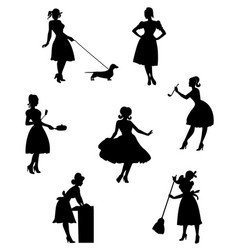 Silhouettes of housewives-2 vector