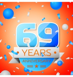 Sixty nine years anniversary celebration on orange vector