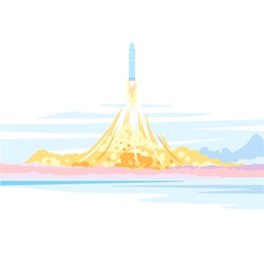 Spaceship Launch Landscape vector image