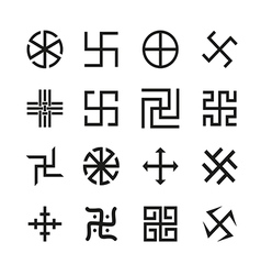 Swastika cross and others symbols icons se vector image