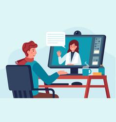 telehealth doctor consultation patient talks vector image
