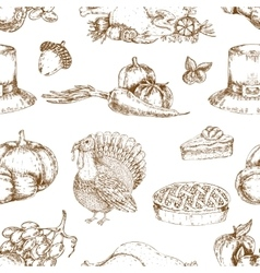 Thanksgiving Day Hand Drawn Seamless Pattern vector image