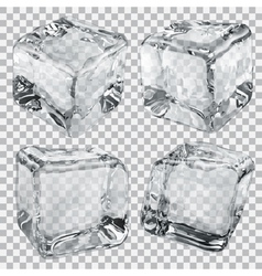 Transparent ice cubes in gray colors vector