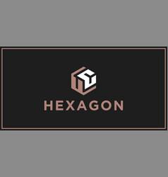 Uc hexagon logo design inspiration vector