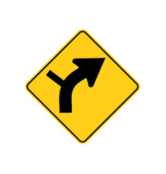 usa traffic road signs right curve aheadside vector image