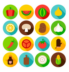 Vegetables circle icons set vector