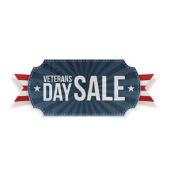 Veterans day sale blue label with ribbon vector