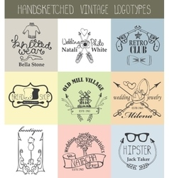 Vintage logotypes setDoodle hand drawn sketched vector image