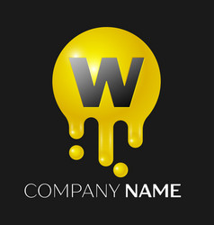 w letter splash logo yellow dots and bubbles vector image