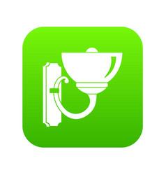 Wall lamp icon digital green vector