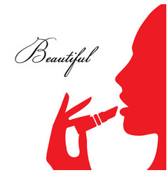 Woman paints her lips vector