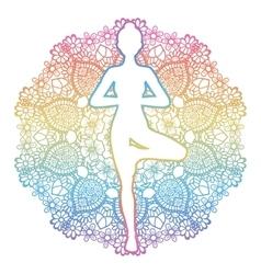 Women silhouette Yoga tree pose Vrikshasana vector image
