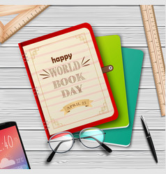 world book day with stack books vector image