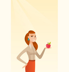 Young woman holding apple vector