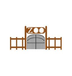 zoo entrance design entry big door symbol flat vector image
