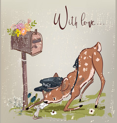 cute fawn and mouse with letter vector image vector image