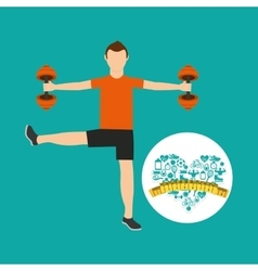 heart weight loss sport male lifting dummbell vector image vector image