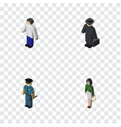 Isometric human set of pedagogue male detective vector