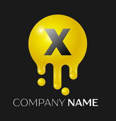 x letter splash logo yellow dots and bubbles vector image vector image