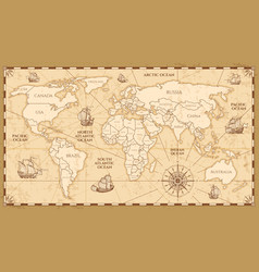 antique world map with countries boundaries vector image