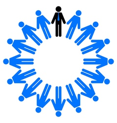employees and manager in circle vector image