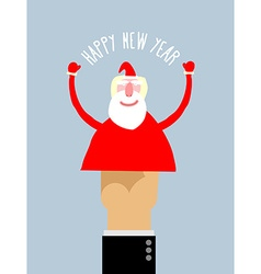 Happy new year Businessman hand manipulation Doll vector image vector image