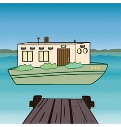 House water houseboat floating river vector image
