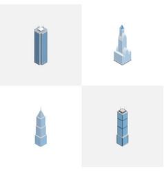 Isometric building set of skyscraper apartment vector