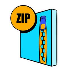 zip file icon cartoon vector image vector image