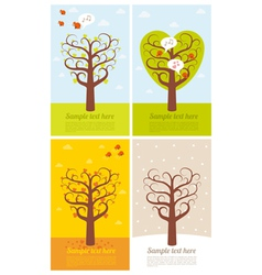 4 banners with seasons vector image vector image
