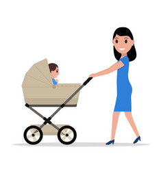 cartoon mother riding a child baby carriage vector image