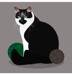 Cat with yarn balls vector image