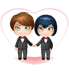 Gay Grooms Getting Married vector image